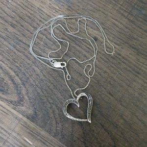 Kay Jeweler black & white diamond heart necklace